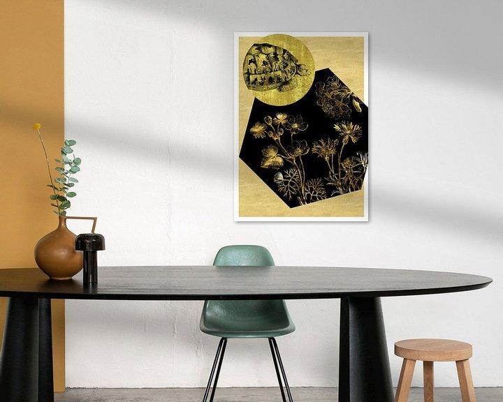 Beispiel: Schildkröte und Blumen auf Gold von Jadzia Klimkiewicz