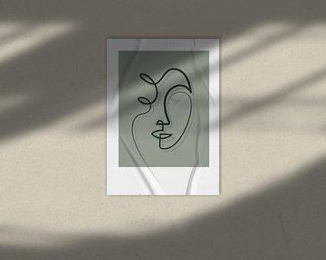 Porträt/Linienzeichnung grau/grün