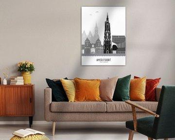 Skyline illustratie stad Amersfoort zwart-wit-grijs van Mevrouw Emmer