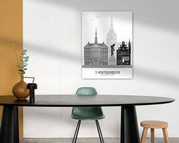 Skyline-Illustration Stadt Den Bosch schwarz-weiß-grau von Mevrouw Emmer