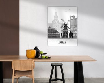 Skyline-Illustration Stadt Haarlem schwarz-weiß-grau von Mevrouw Emmer