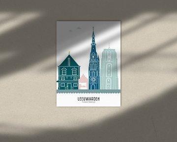 Skyline illustratie stad Leeuwarden in kleur van Mevrouw Emmer