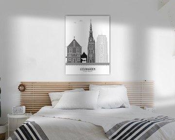 Skyline-Illustration Stadt Leeuwarden schwarz-weiß-grau von Mevrouw Emmer