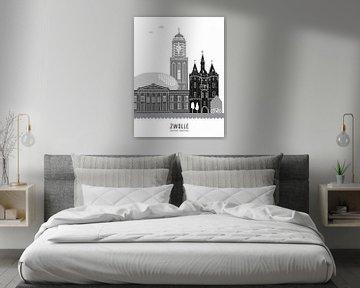 Skyline illustratie stad Zwolle zwart-wit-grijs van Mevrouw Emmer