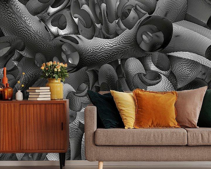 Sfeerimpressie behang: Fractal fantasie in zwart wit van W J Kok