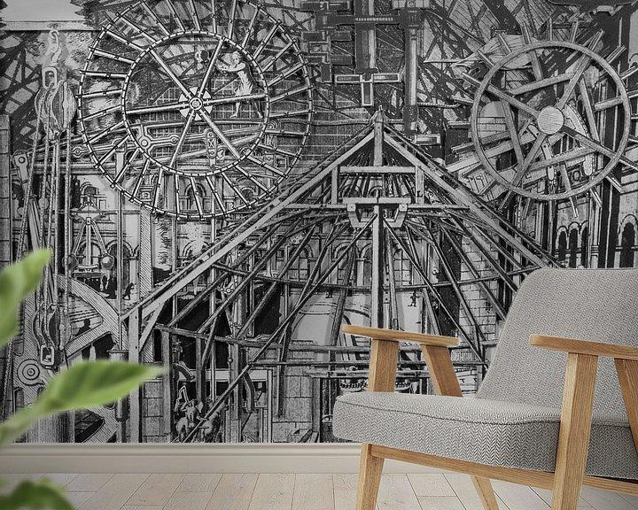 Sfeerimpressie behang: Collage in zwart-wit - afbeeldingen uit boek over techniek van Oscarving