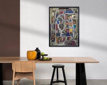 Ausschnitt im kubistischen Stil in einem alten Buch über das Mittelalter von Oscarving