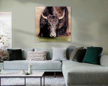 Porträt eines Yaks (Gemälde) von Art by Jeronimo