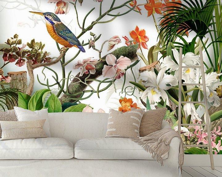 Beispiel fototapete: Der Eisvogel bei den Orchideen von christine b-b müller