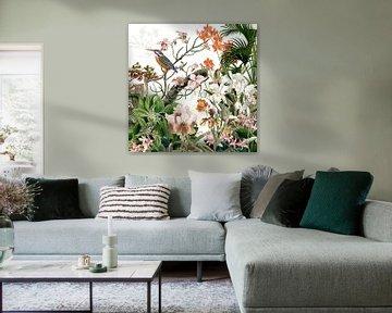 Der Eisvogel bei den Orchideen in Retrofarben von christine b-b müller