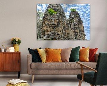Gezichten van Bayon, Angkor, Cambodja van Jan Fritz
