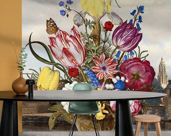 Impression: Gezicht op Delft - Achter Vaas met Bloemen sur Marja van den Hurk