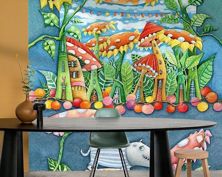 Sfeerimpressie behang: Bloemen Monstertje van Atelier BuntePunkt