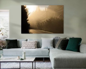 Zonsondergang bosweg van Stefan Verheij