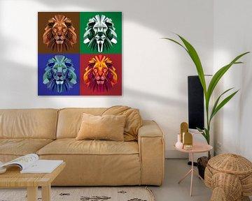 Löwe in vier Farben von Robin van Steen