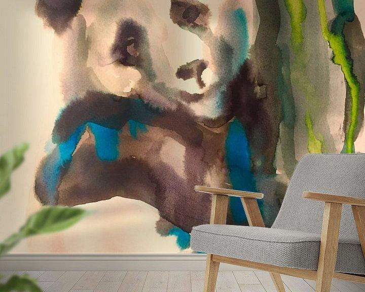 Sfeerimpressie behang: Panda Power van Helia Tayebi Art