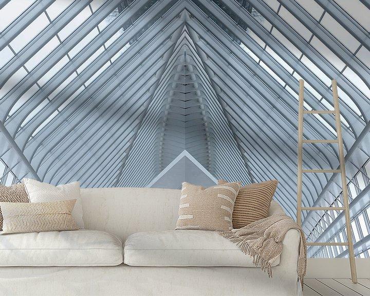 Sfeerimpressie behang: Lines of a roof as abstract van Brian Morgan