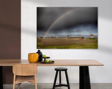 Schermerhorn Mühlen Regenbogen von Evelien van der Horst