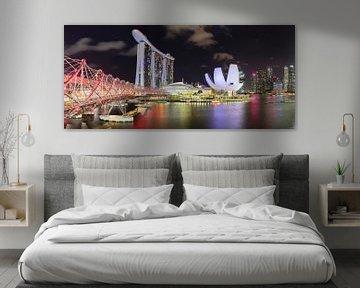 Skyline bij nacht, Singapore van Markus Lange