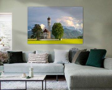 Zonsondergang St. Colomankirche, Schwangau Duitsland van Bob Slagter