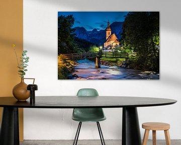Kerk blauwe uur, Alpen Duitsland van Bob Slagter
