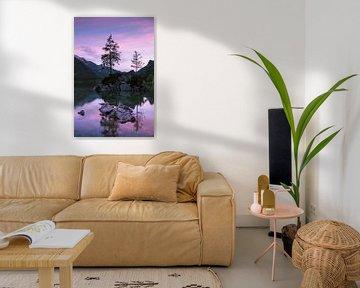 Roze zonsondergang, Hintersee Duitsland van Bob Slagter