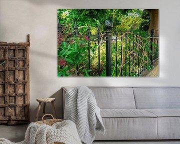 Schöner dunkelgrüner Zaun mit Blumengarten dahinter von Andrea de Jong
