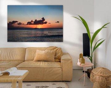 Zee met zonsondergang in Dominicannse Republiek van Part of the vision