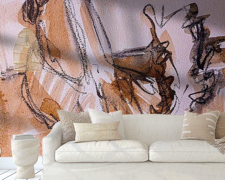 Sfeerimpressie behang: Kip, haantje (I) van Liesbeth Serlie