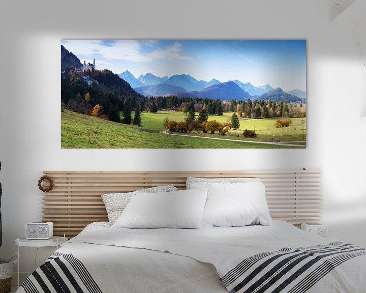 Sfeerimpressie: Kasteel Neuschwanstein en Alpenpanorama van Frank Herrmann