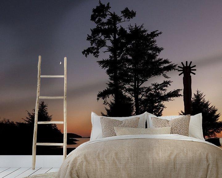 Sfeerimpressie behang: Zonsondergang Vancouver Island van Stefan Verheij