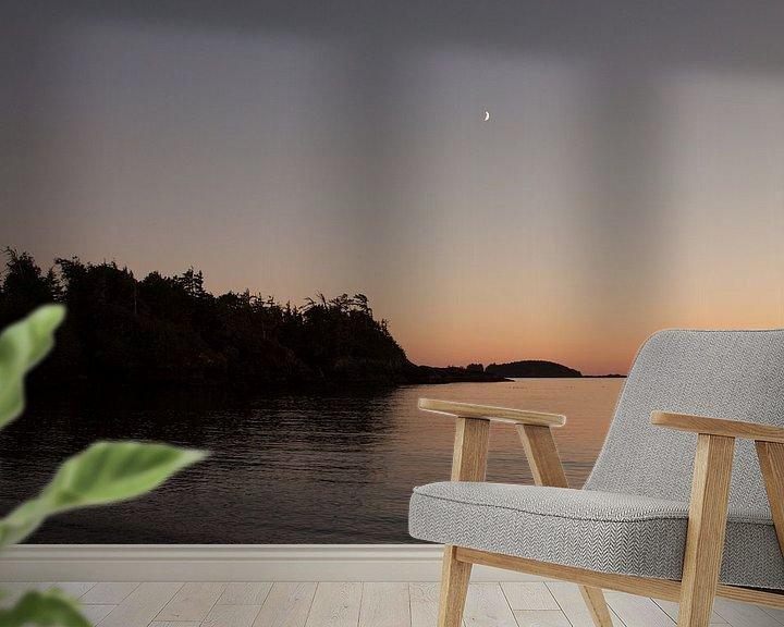 Sfeerimpressie behang: Zonsondergang, maanopkomst van Stefan Verheij