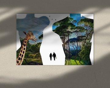 Paradise shopping (contour avec girafe et peinture) sur Ruben van Gogh