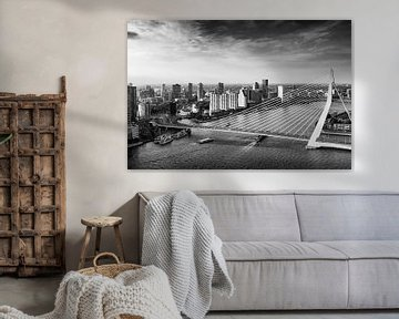 Skyline von Rotterdam mit der Erasmusbrücke von Evelien Oerlemans