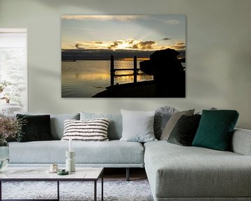 zonsopkomst aan Grevelingenmeer van Annelies Cranendonk