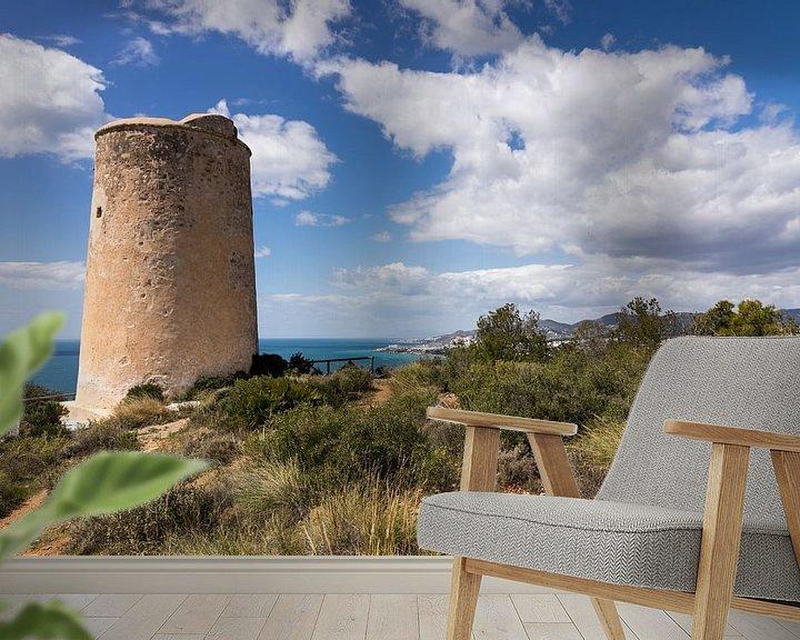 Sfeerimpressie behang: Torre de Maro in het natuurpark Acantilados de Maro Cerro Gordo van René Weijers