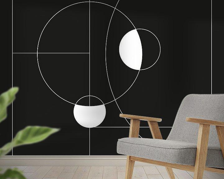 Beispiel fototapete: Minimal Black and White Circles von MDRN HOME