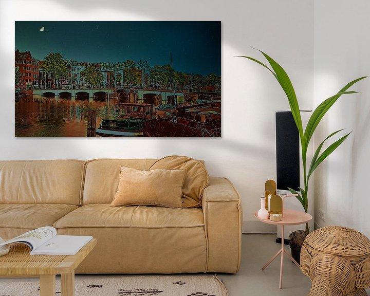 Beispiel: Skinny Brücke in der Nacht, Amsterdam von Digital Art Nederland
