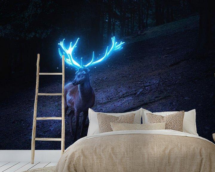 Beispiel fototapete: Hirsch mit leuchtem blauen Geweih von Oliver Henze