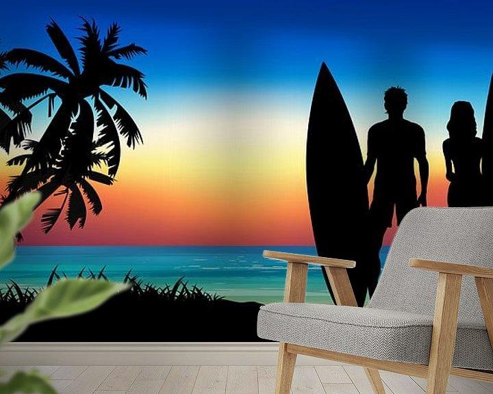 Sfeerimpressie behang: Love is Surfing Together van Harry Hadders