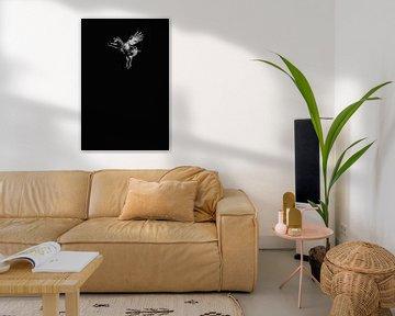 fliegendes Huhn schwarz und weiß von Lotje van der Bie Fotografie