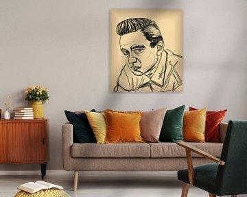 Johnny Cash im Vintage-Sketch von Jasper Boekema