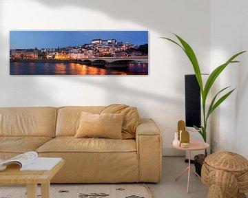 Oude stad, rivier, Mondego, Coimbra, Portugal, stad, avond, schemering van Torsten Krüger