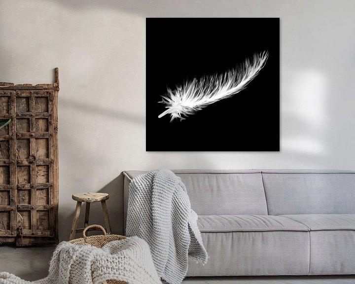 Beispiel: Schwarze Leinwand - weiße Daunenfedern von Emiel de Lange