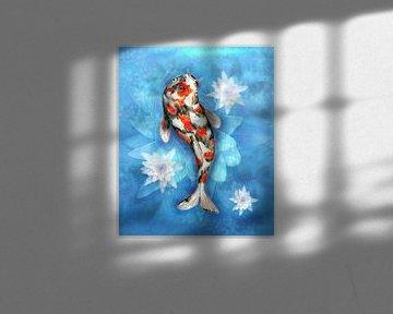 Koi Karpfen mit Lotusblumen von Bianca Wisseloo