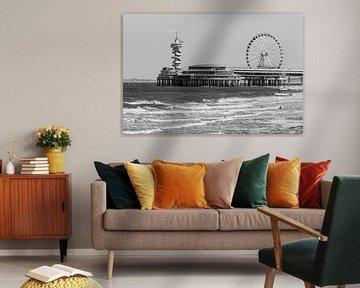 Scheveningen Pier in schwarz und weiß von Stefan Verheij