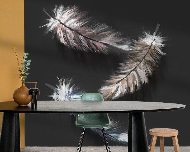 Beispiel fototapete: Daunenfedern - digitales Kunstwerk mit anthrazitfarbenem Hintergrund von Emiel de Lange