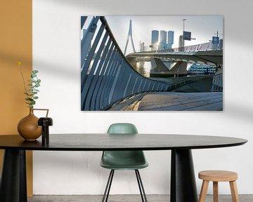 Lijnenspel aan de voet van de Erasmusbrug in Rotterdam