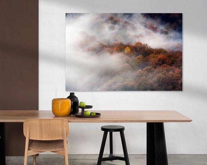 Sfeerimpressie: Luchtfoto van mistige bossen in herfst kleuren van Peter de Kievith Fotografie