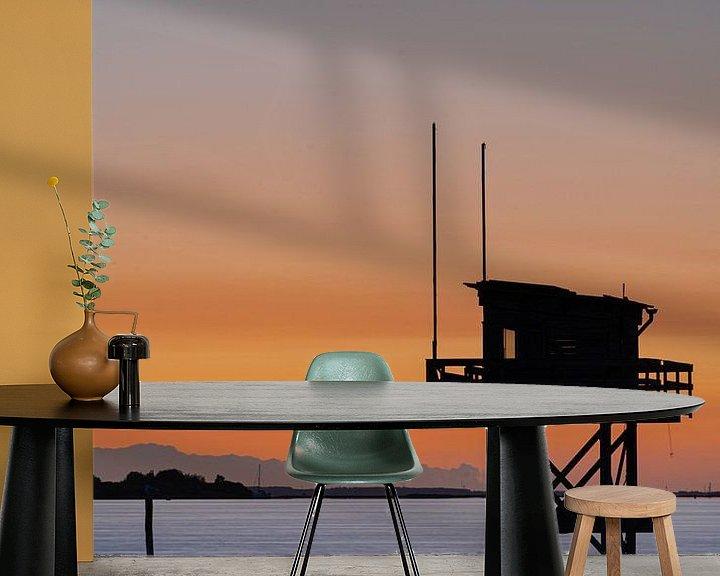 Sfeerimpressie behang: Het duikershuisje in brouwershaven van Albert Lamme